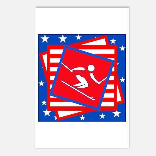 DOWNHILL SKIING American Pride Postcards (Package