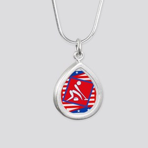 Curling American Style Silver Teardrop Necklace