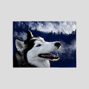Alaskan Husky 5'x7'Area Rug