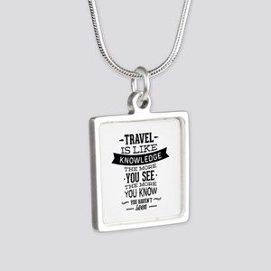 Travel Is Like Knowledge Silver Square Necklace