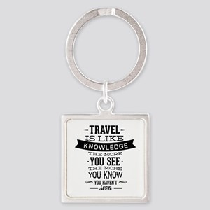 Travel Is Like Knowledge Square Keychain
