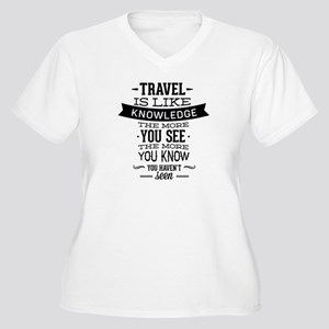 Travel Is Like Knowledge Women's Plus Size V-Neck