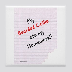 Bearded Homework Tile Coaster