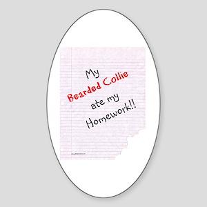 Bearded Homework Oval Sticker
