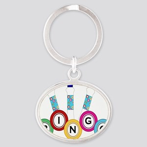 BINGO WITH MARKERS Oval Keychain