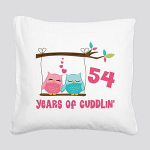 54th Anniversary Owl Couple Square Canvas Pillow
