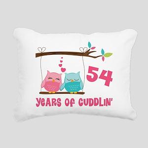 54th Anniversary Owl Couple Rectangular Canvas Pil