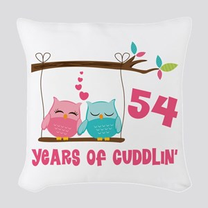 54th Anniversary Owl Couple Woven Throw Pillow