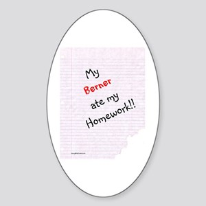 Bernese Homework Oval Sticker