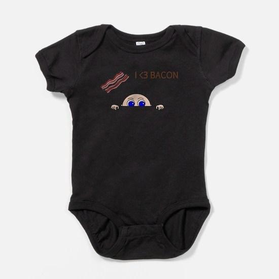 I Love Bacon Peek-A-Boo Baby Baby Bodysuit