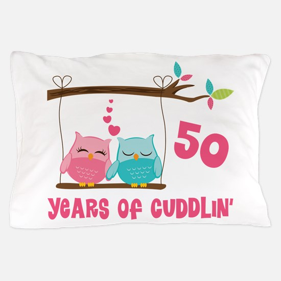 50th Anniversary Owl Couple Pillow Case