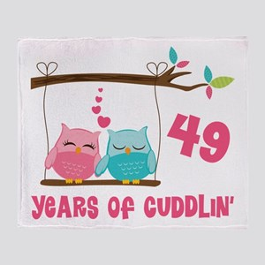 49th Anniversary Owl Couple Throw Blanket