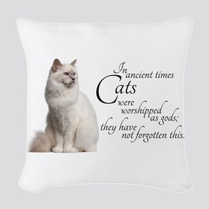 Birman Cat Woven Throw Pillow