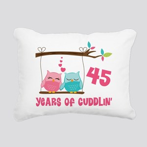 45th Anniversary Owl Couple Rectangular Canvas Pil