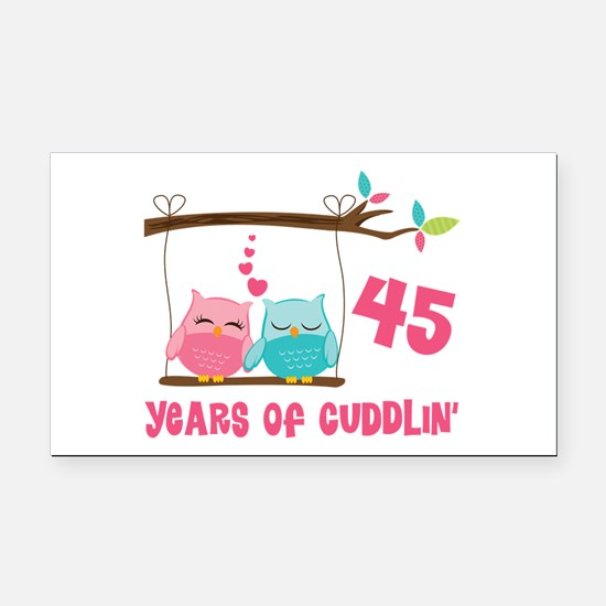 45th Anniversary Owl Couple Rectangle Car Magnet