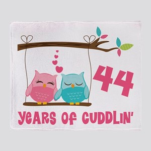 44th Anniversary Owl Couple Throw Blanket