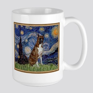 Starry Night and Brindle Boxer Large Mug