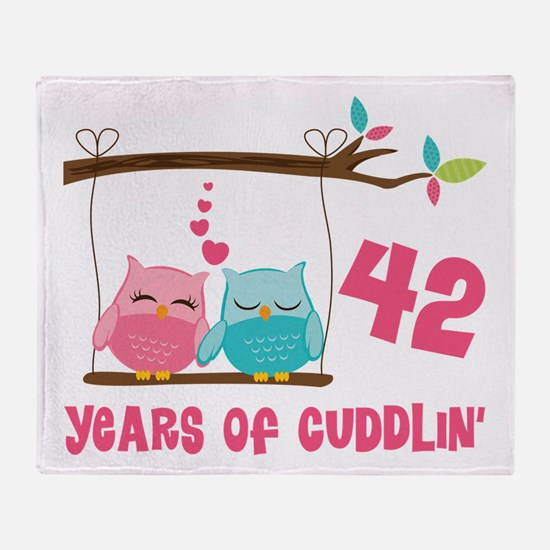 42nd Anniversary Owl Couple Throw Blanket