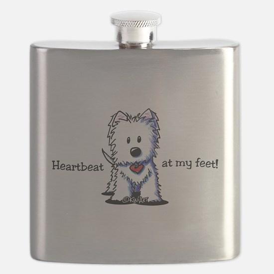 Westie Heartbeat Flask