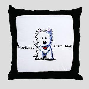 Westie Heartbeat Throw Pillow