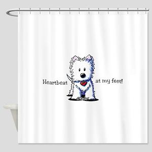 Westie Heartbeat Shower Curtain