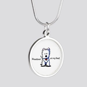 Westie Heartbeat Silver Round Necklace