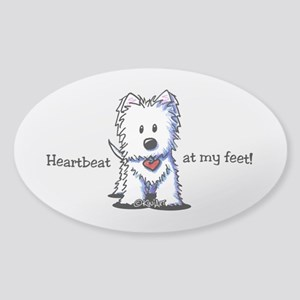 Westie Heartbeat Sticker (Oval)