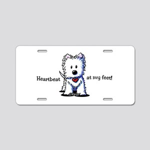 Westie Heartbeat Aluminum License Plate