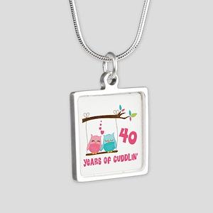40th Anniversary Owl Couple Silver Square Necklace