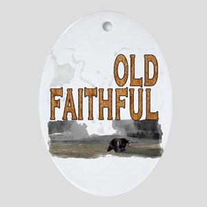 Old faithful Bear Oval Ornament