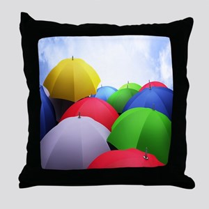 The Colorful Umbrellas Throw Pillow