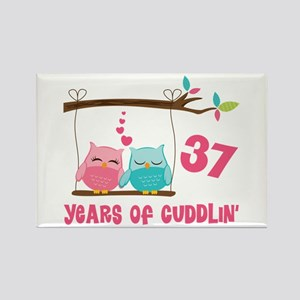 37th Anniversary Owl Rectangle Magnet