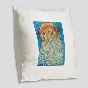 Jelly Fish Burlap Throw Pillow
