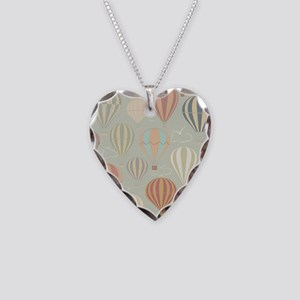 Vintage Hot Air Balloons Necklace Heart Charm