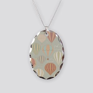 Vintage Hot Air Balloons Necklace Oval Charm