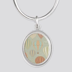 Vintage Hot Air Balloons Silver Oval Necklace