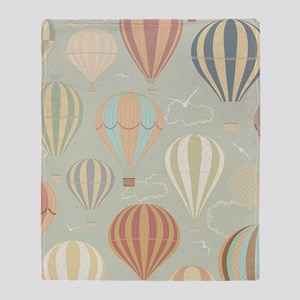 Vintage Hot Air Balloons Throw Blanket