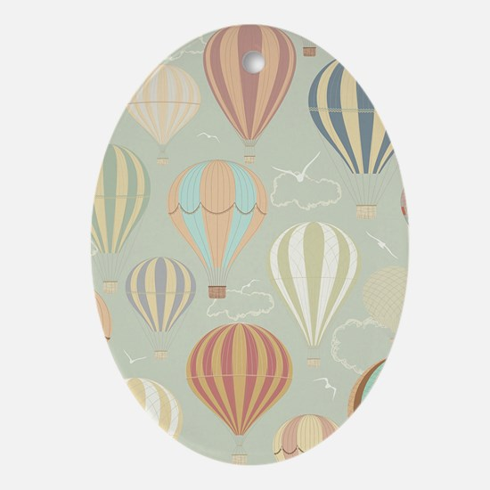 Vintage Hot Air Balloons Oval Ornament