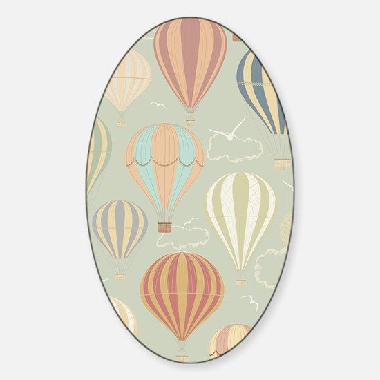 Vintage Hot Air Balloons Sticker (Oval)