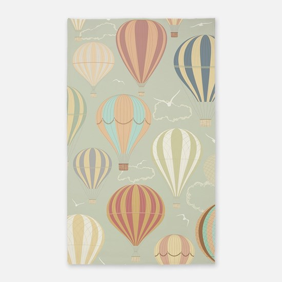 Vintage Hot Air Balloons 3'x5' Area Rug