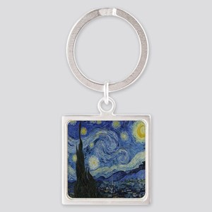 The Starry Night Square Keychain