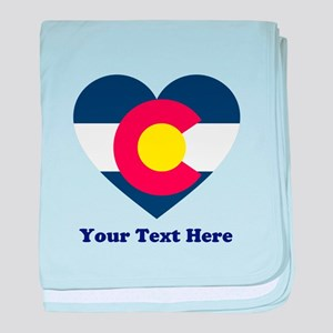 Colorado Flag Heart Personalized baby blanket
