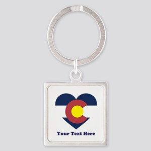 Colorado Flag Heart Personalized Square Keychain