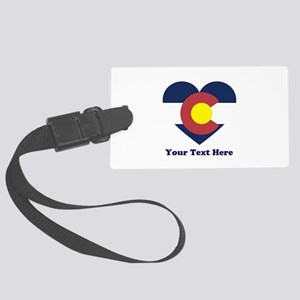 Colorado Flag Heart Personalized Large Luggage Tag