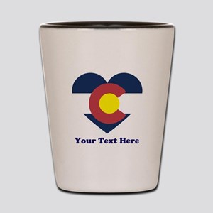 Colorado Flag Heart Personalized Shot Glass