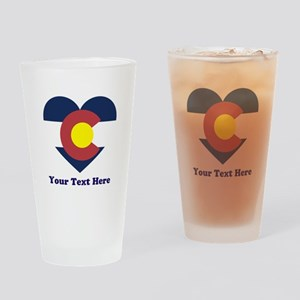 Colorado Flag Heart Personalized Drinking Glass