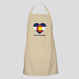 Colorado Flag Heart Personalized Light Apron