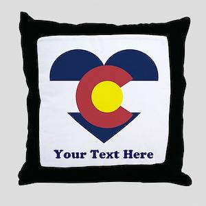 Colorado Flag Heart Personalized Throw Pillow