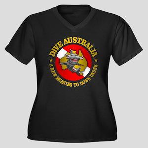 Dive Austral Women's Plus Size V-Neck Dark T-Shirt