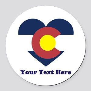 Colorado Flag Heart Personalized Round Car Magnet